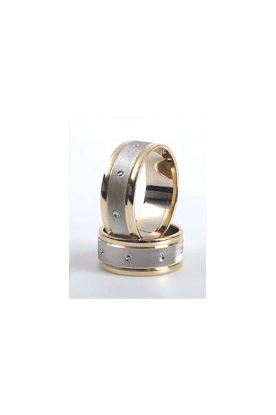 LEWIKO Vjenčani prsten od bijelog i žutog zlata, 8mm