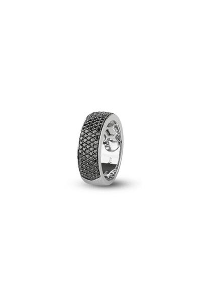 LEWIKO Zaručnički prsten bijelo zlato s crnim dijamantima 0,96 ct