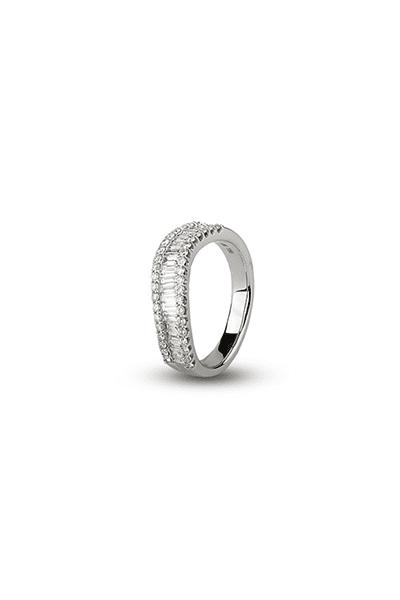 LEWIKO Baquette zaručnički prsten zlatni s dijamantima