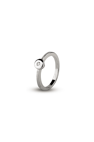 LEWIKO Zaručnički prsten bijelo zlato s dijamantima 0,05 ct