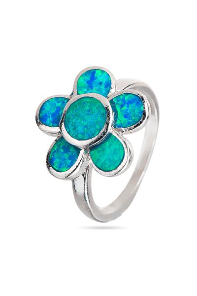 Srebrni prsten s opalom u obliku cvijeta