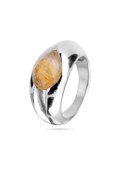 Srebrni prsten sa žutim cirkonom