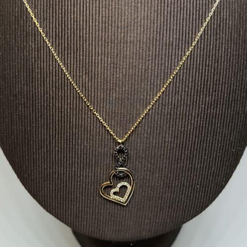 Zlatna ogrlica sa simbolom beskonačnosti ispunjenog crnim cirkonima i privjeskom srca