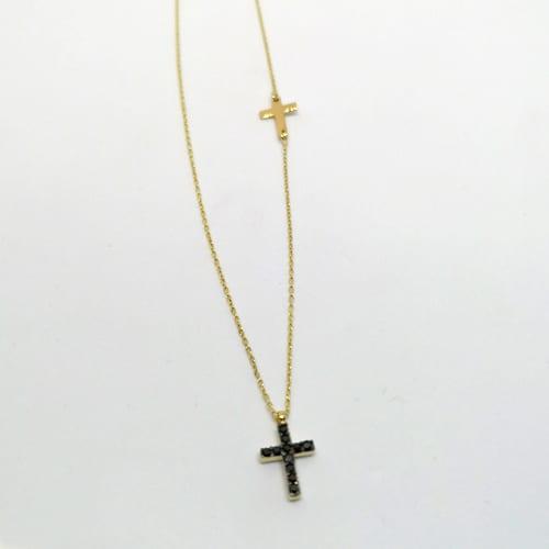 Zlatna ogrlica s privjeskom križa s crnim cirkonima