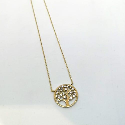 Zlatna ogrlica od žutog zlata sa simbolim drva života