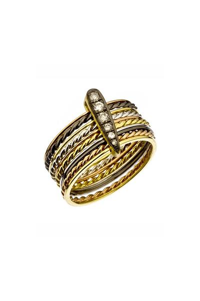 Prsten s dragim kamenjem i dijamantima